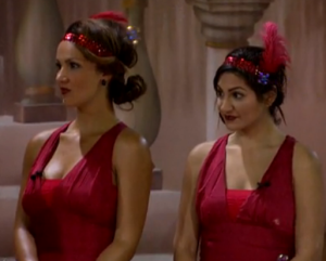 Brittany and Victoria at The Battle of the Block Big Brother Bash after being nominated for elimination by Frankie.